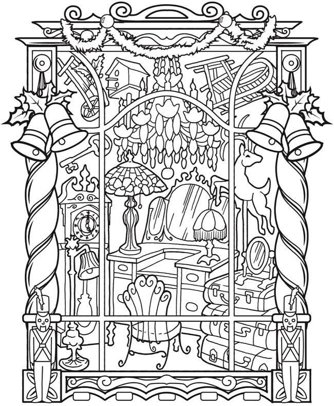 creative haven vintage christmas windows coloring book 5 sample pages