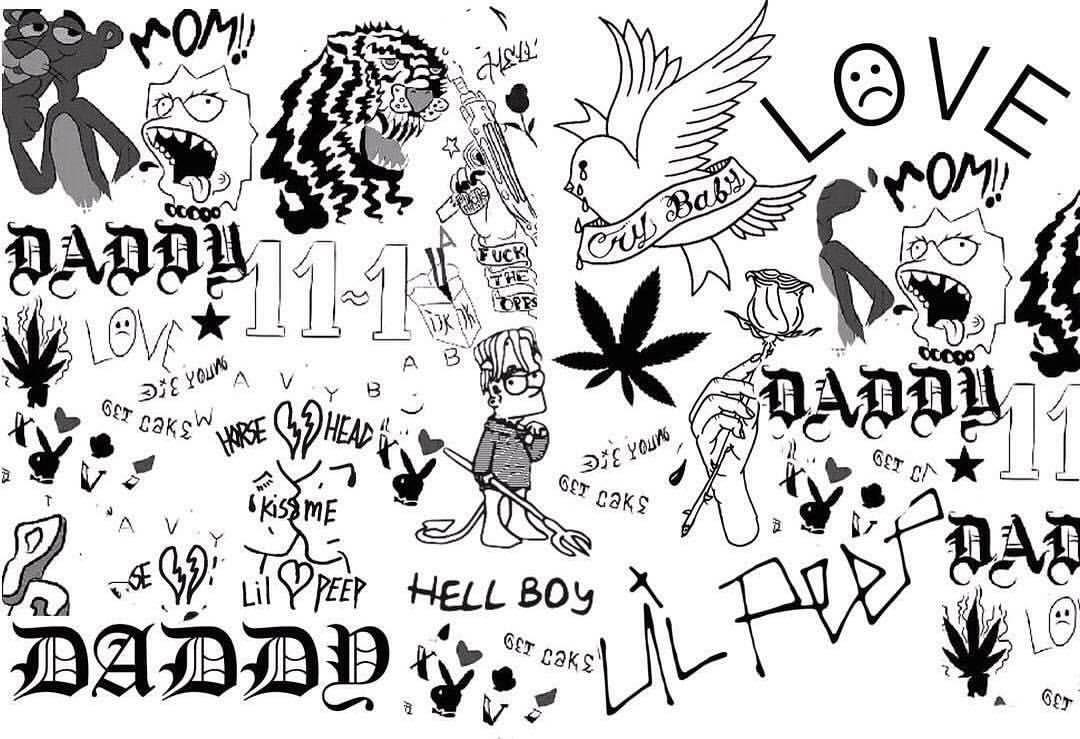 Pin By Irem Gny On Lil Peep Lil Peep Tattoos Doodle Tattoo Lil Peep Hellboy
