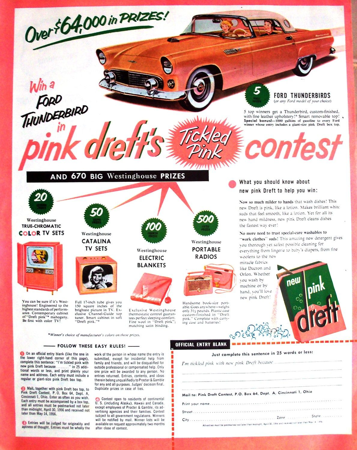Christmas 1955 Ad Dreft Pink Dish Soap Ford Thunderbird and More ...