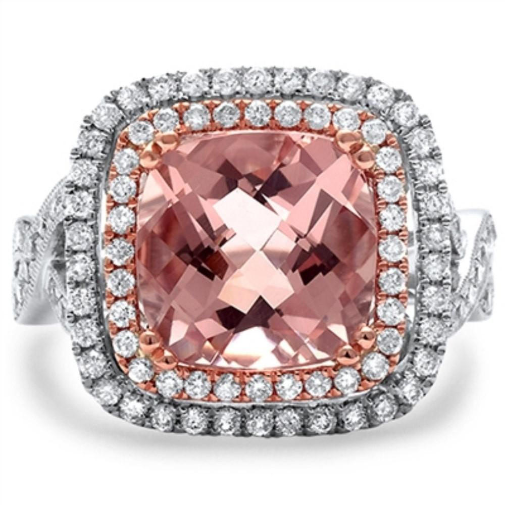 4.20CT Cushion Pink Morganite Round E VS Diamond Infinity Twisted ...