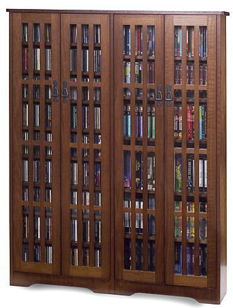 Family Room Leslie Dame M 954 Double Wide Tall Mission Media Cabinet With Gl Doors Walnut Heavy Duty Construction Handrubbed Oak Veneer