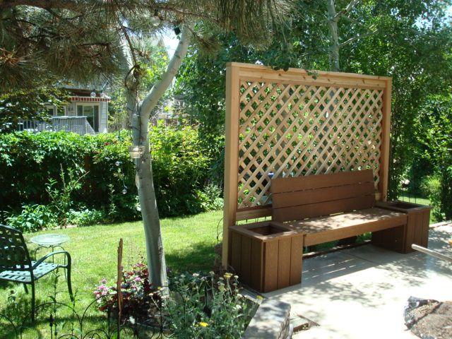 Duza Drewniana Krata Z Lawka Garden Privacy Patio Zen Garden