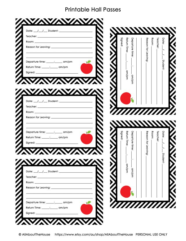Free Printables Hall Pass Classroom Passes School Social Worker