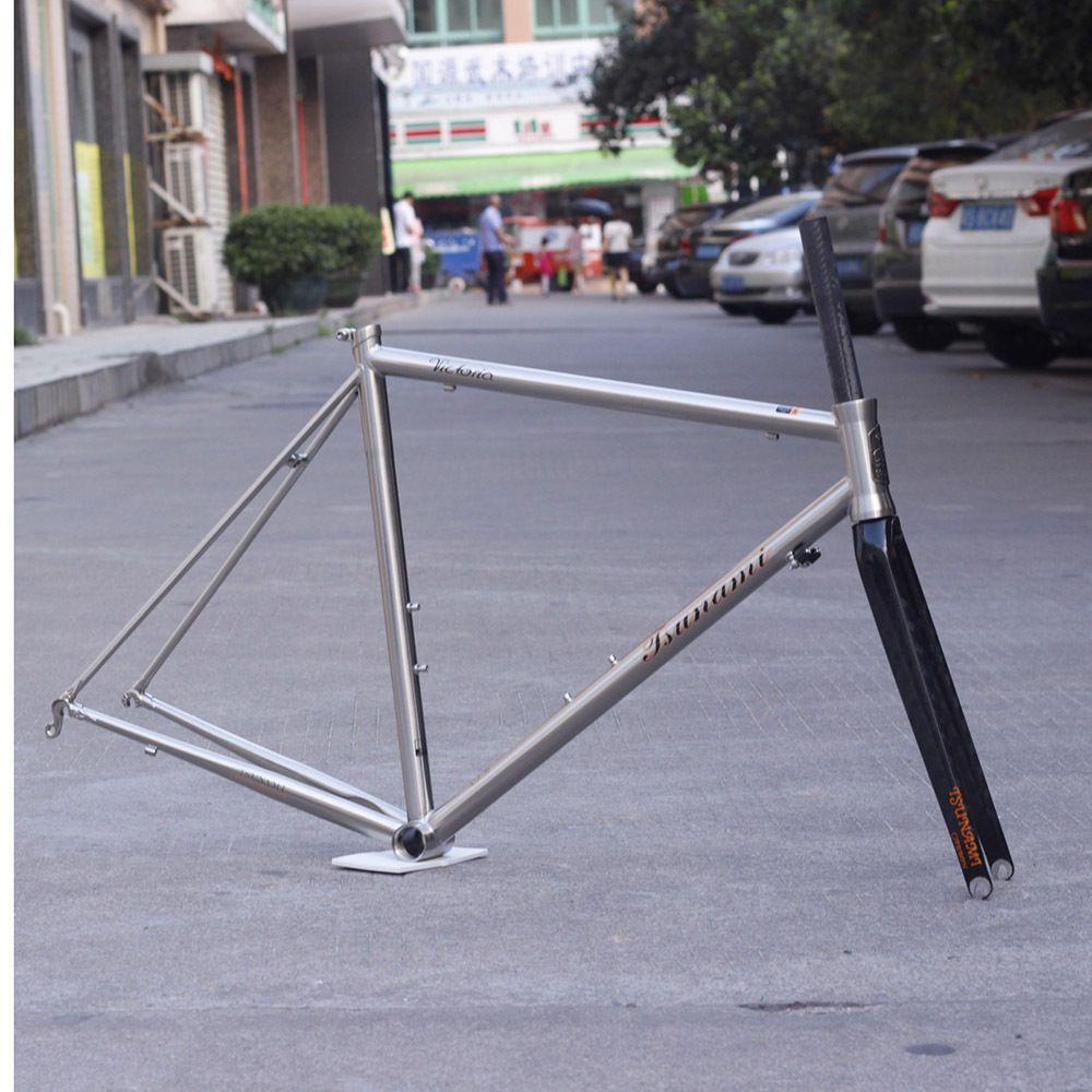 Chrome CR-MO Steel Road Bike Frame Carbon Fork 700C Classic Frameset ...