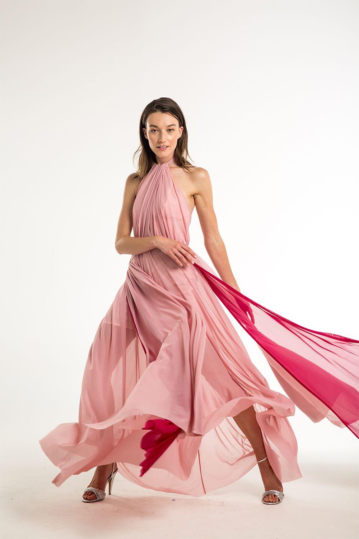 vestido largo rosa de mesh para boda de día. Bubble gum dress ...