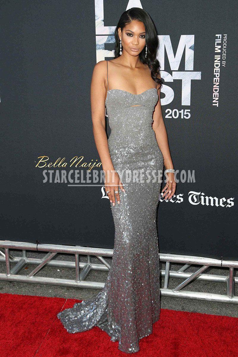 50162c7e778 Chanel Iman Dope Premiere Long Silver Shiny Sweep Train Prom Dress ...