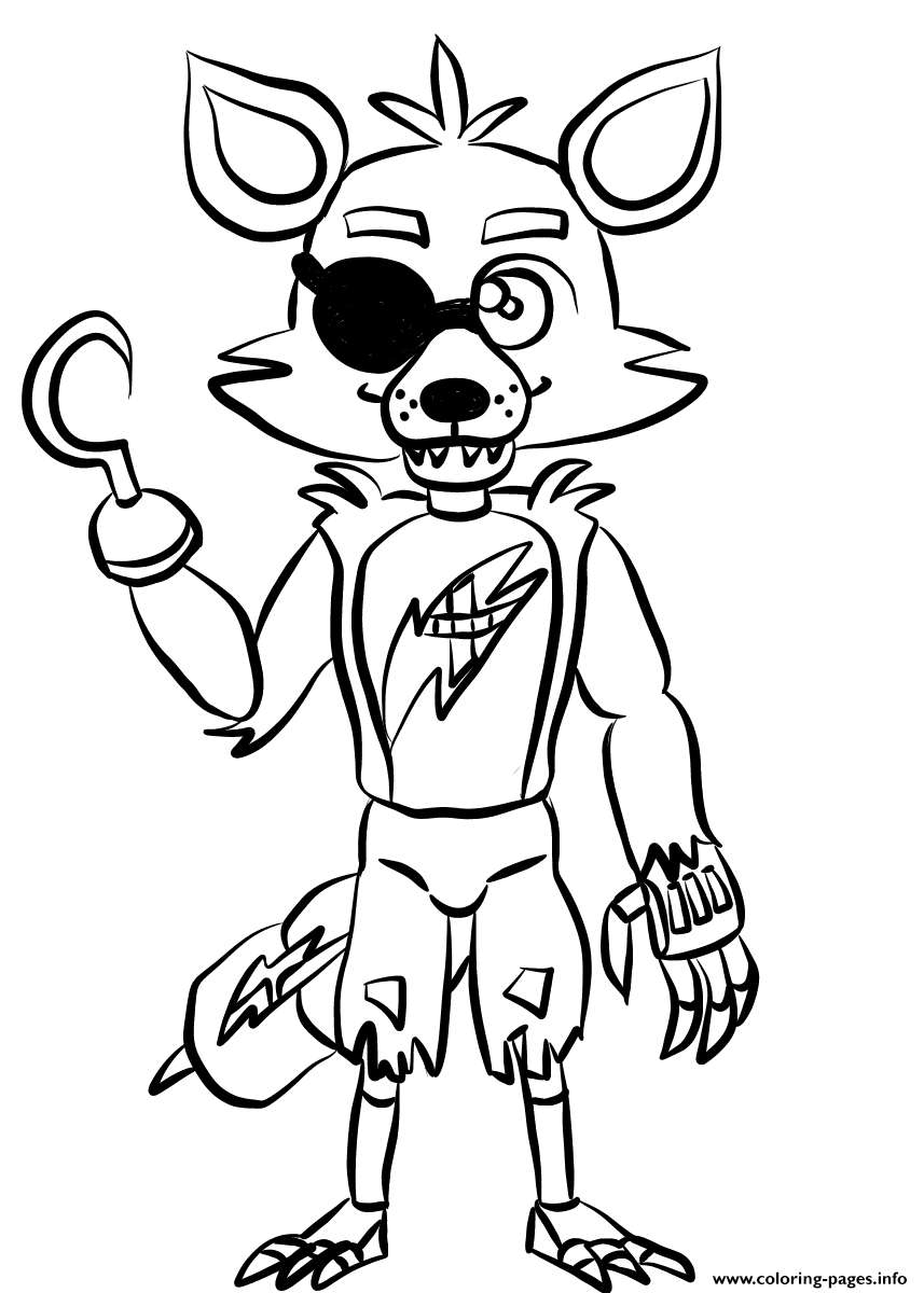 Print Foxy Fnaf Freddys Coloring Pages Cricut Fnaf Coloring