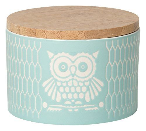 Now Designs Owls Canister, Small, Light Blue
