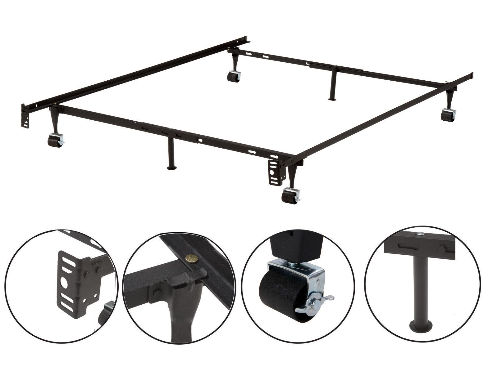 Metal Adjustable Queen, Full, Full XL, Twin, Twin XL, Heavy Duty Bed Frame With 6 Legs, 2 Center Support, 2 Rug Rollers and 2 Locking Wheels