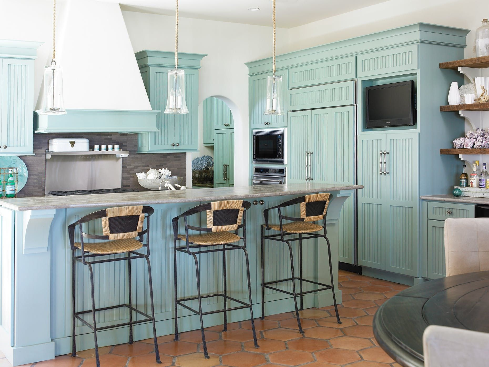Aqua Painted Kitchen Cabinets Aqua Kitchen Blue Kitchen Decor Top Kitchen Trends