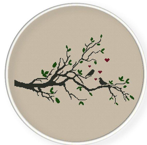 Buy 4 get 1 free ,Buy 6 get 2 free,Counted Cross stitch pattern,Cross-Stitch PDF,birds on  tree,valentine's day, zxxc0240. $4.00, via Etsy.