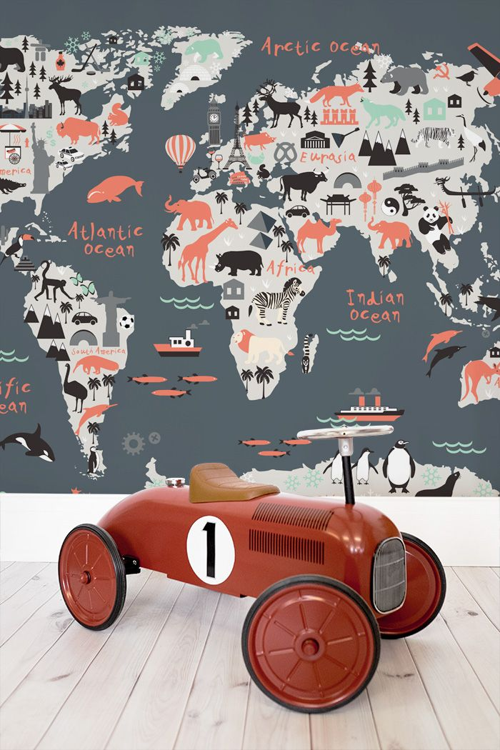 Decorating your kids bedroom this charming world map mural our world map wallpaper helps create an amazing world map mural in any room inspiring you to live beyond your own four walls gumiabroncs Gallery