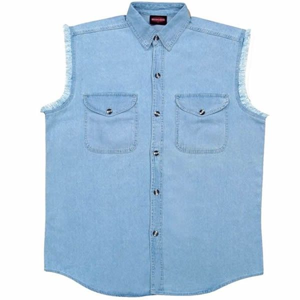 015d59ee2e4 Milwaukee Cut Off Sleeve Mens Blue Denim Biker Motorcycle Shirt is made of  100% heavy duty cotton twill classic blue denim with two front chest snap  pockets ...