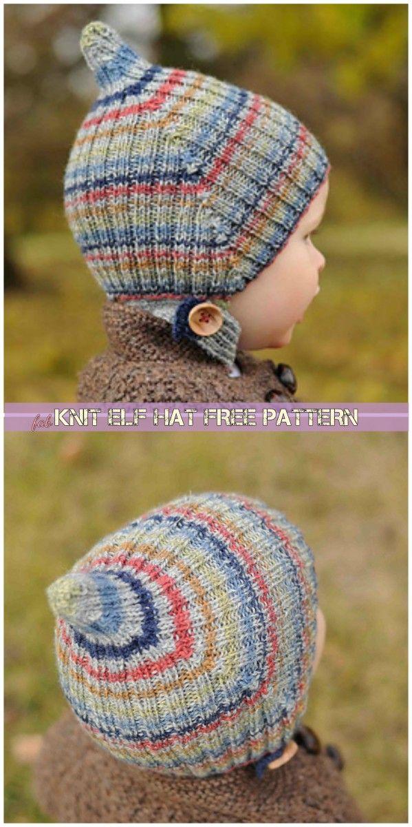 Knit Striped Elf Hat Free Pattern | czapki dzieciece | Pinterest ...