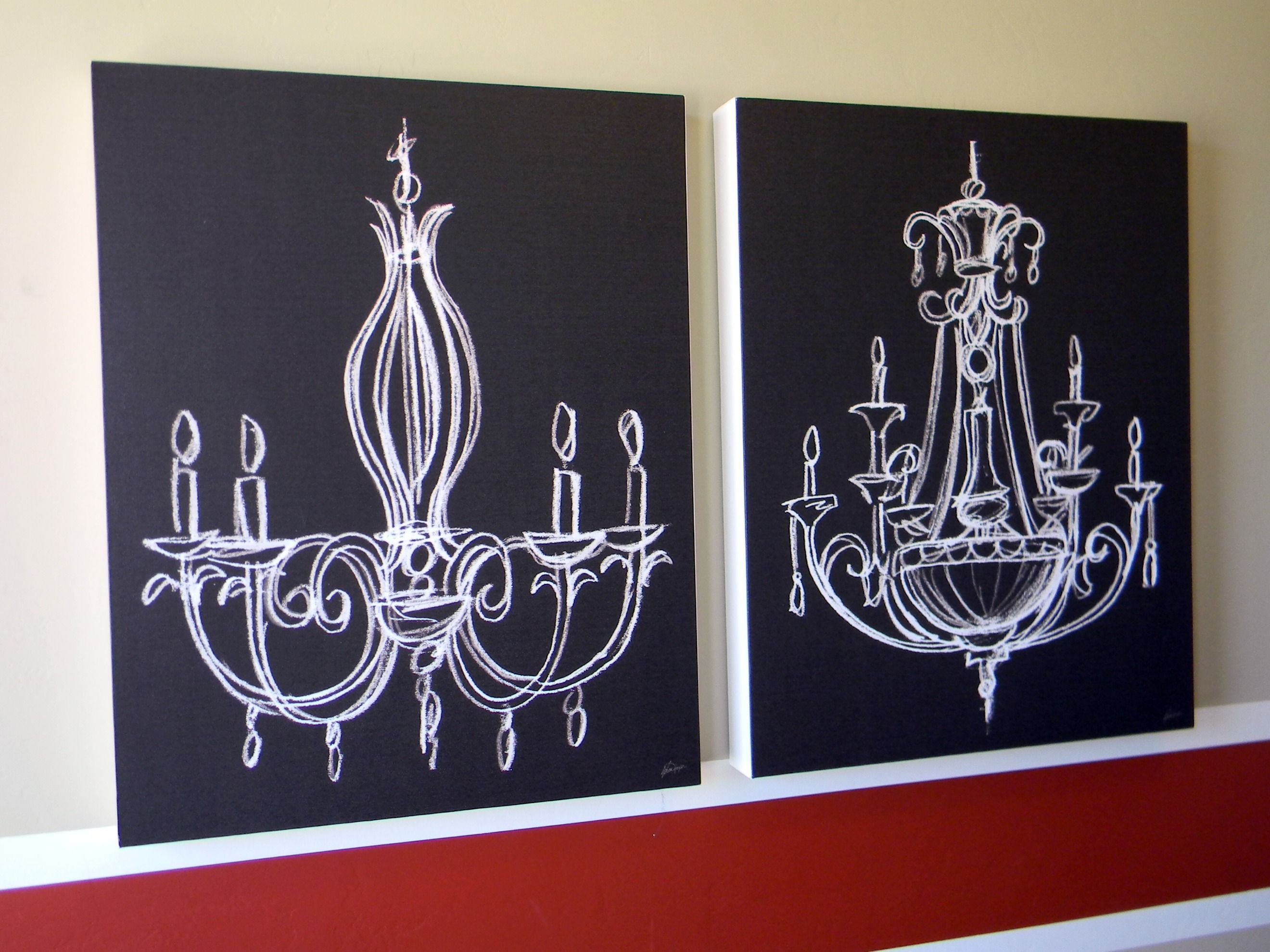 Wall art love chandeliers chalkboards and chalkboard canvas chalk drawn chandelier love this and it would be pretty easy to make arubaitofo Gallery