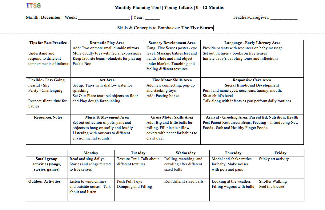 infant toddlers lesson plan