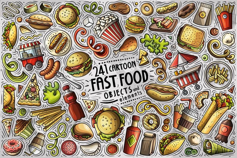 Fastfood Vector Clipart Fast Food Cartoon Png Set Food Etsy Food Cartoon Fast Food Cartoons Vector