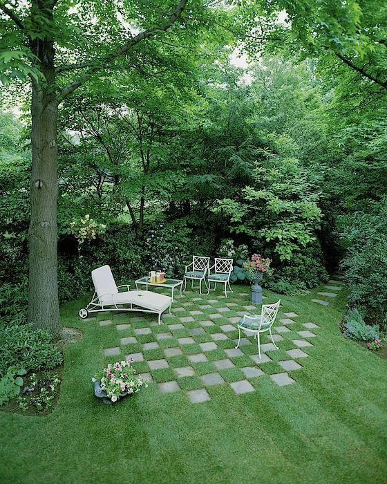 A Garden With Checkered Pavement by Pedro E. Guerrero
