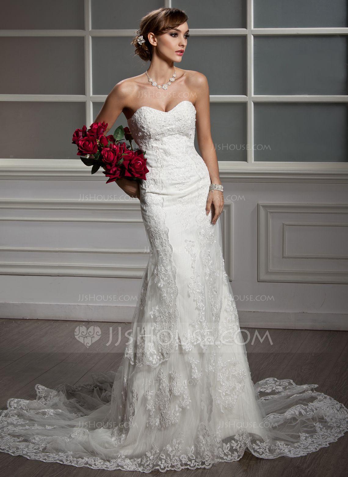 Trumpet Mermaid Sweetheart Chapel Train Tulle Lace Wedding Dress