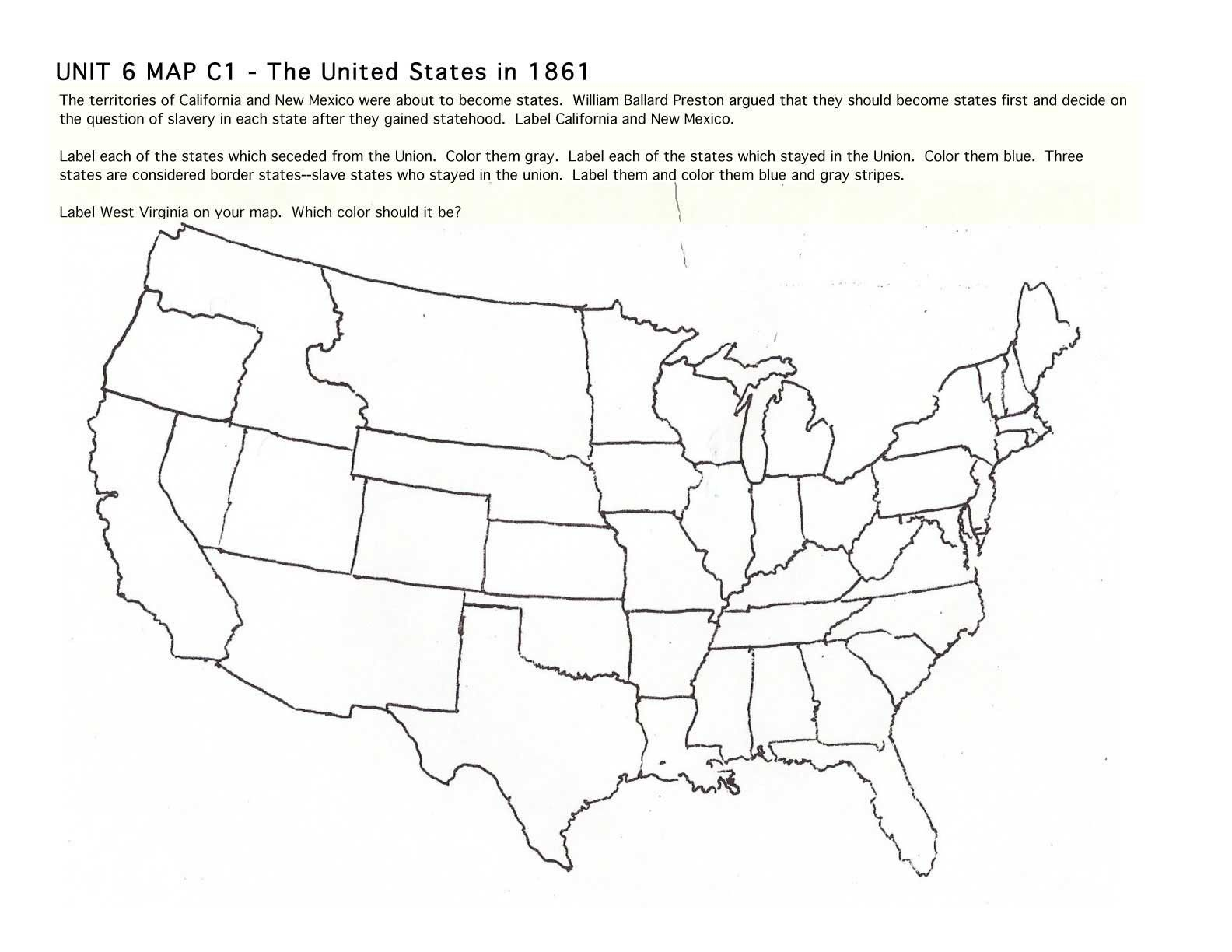 Us Map During The Civil War Us Map Of The Civil War