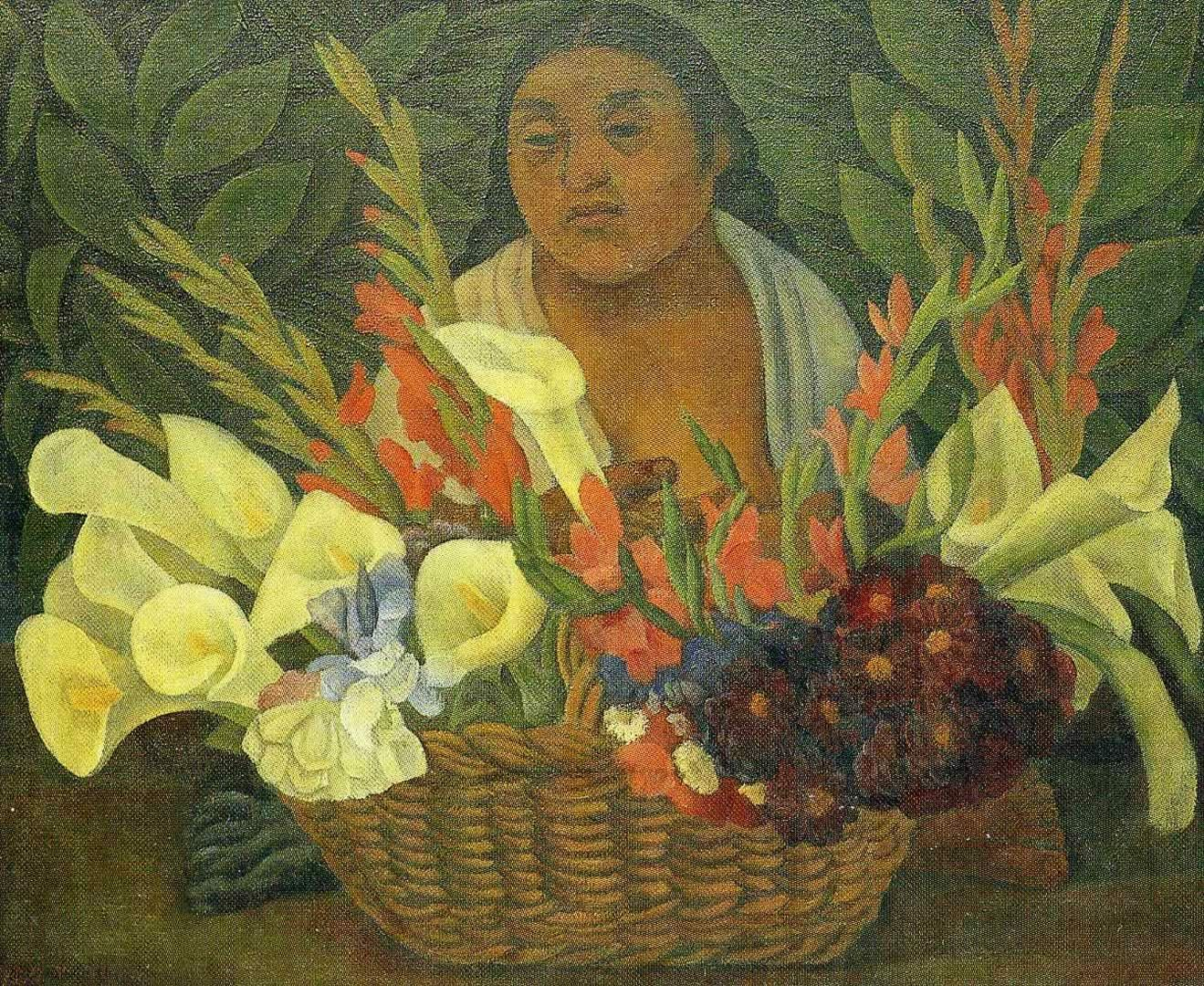 Flower Festival   by Diego Rivera  Paper Print Repro