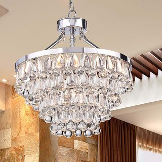 Tranquil Chrome Plating Chandelier With Smooth Crystals Chrome - Chandelier crystals teardrop