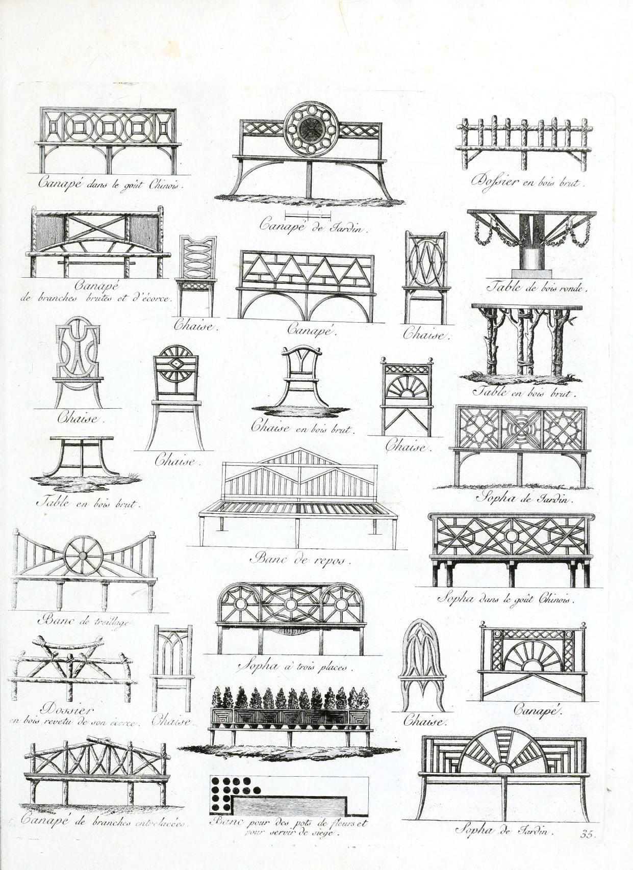 Vintage French Garden Furniture Drawings inspiration for