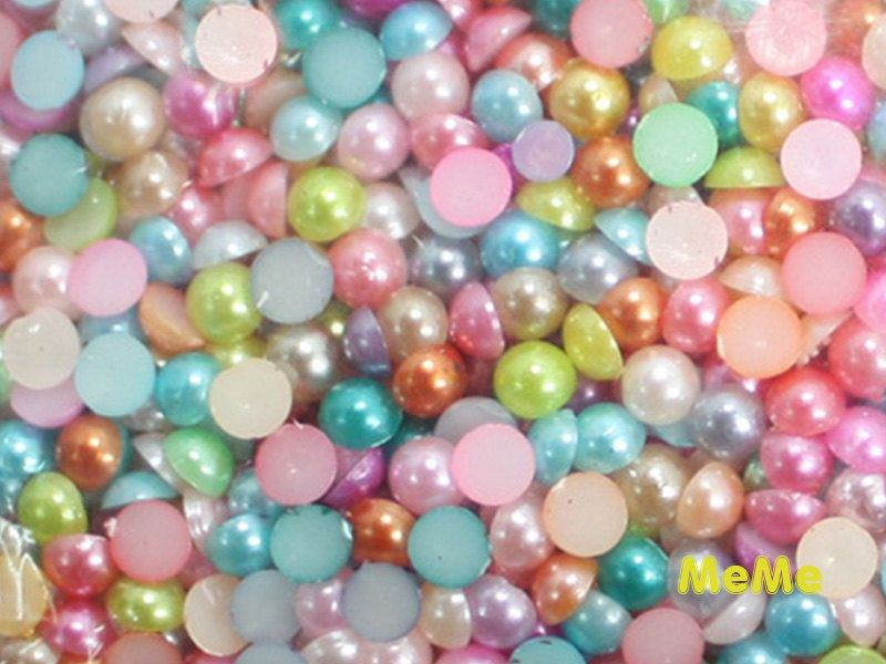 Mix #Color 3 - 10 mm Flatback Acrylic Faux #Pearl Round #Beads Half Kawaii Caboch,  View more on the LINK: 	http://www.zeppy.io/product/gb/3/230254564/