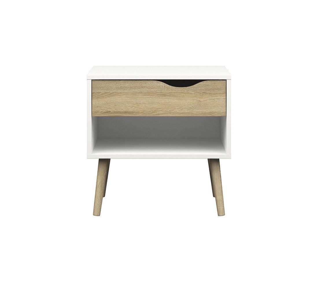 Chevet OSLO blanc/ imitation chêne | But | Table de chevet ...