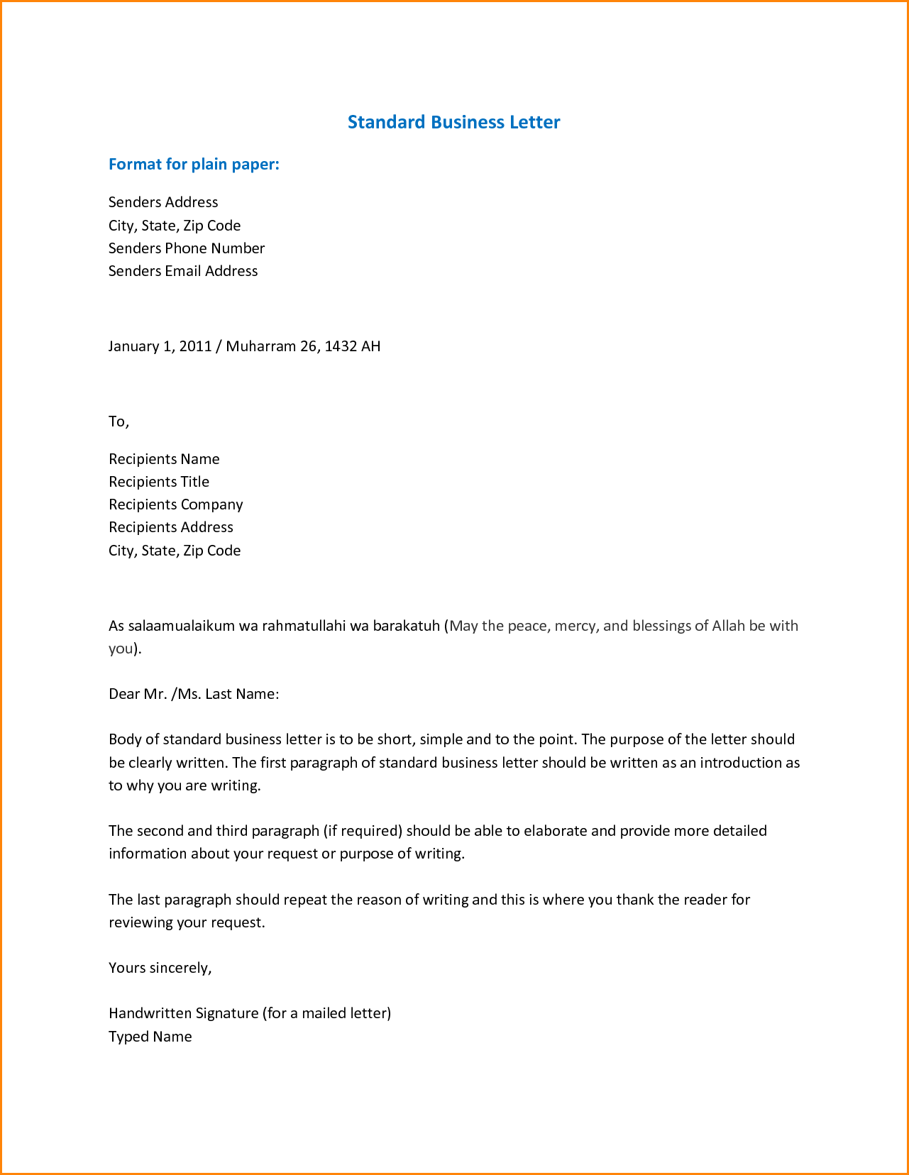 Formal Business Email Format Letter Spacing Guidelines Template