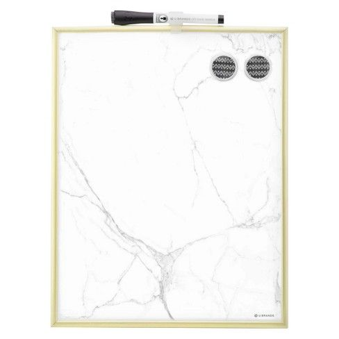Ubrands Marble Dry Erase Board Gold Frame 11 Quot X14 Quot White