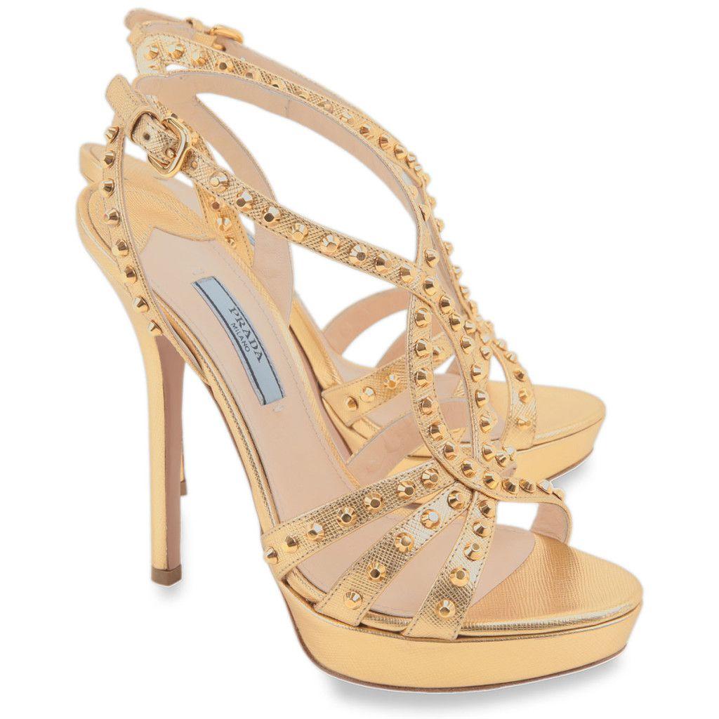 Gold Prada Platform Sandal Shoes Best Prada Wedding Shoes On Gold Straps Platform Women Shoes Shoes Prada Shoes