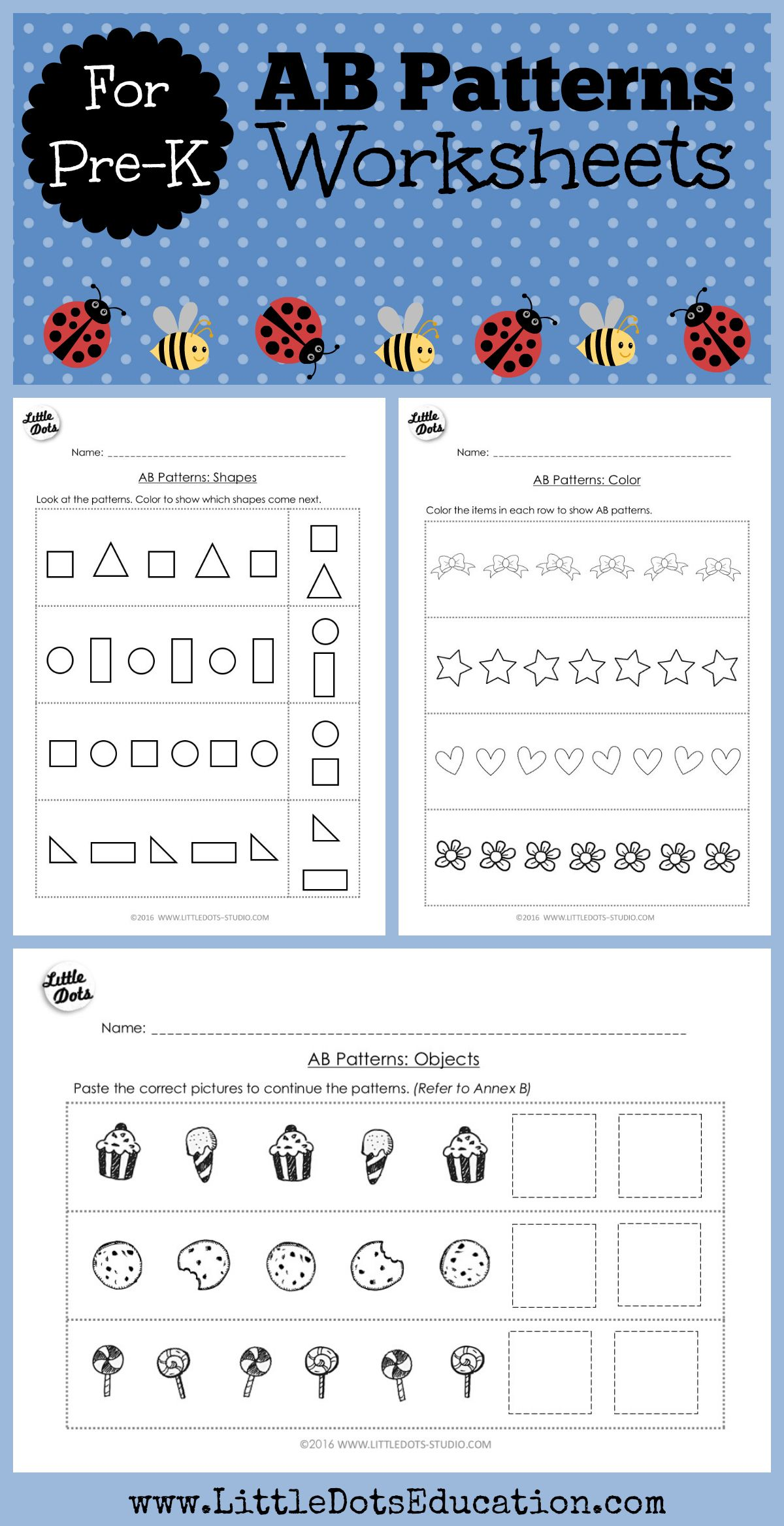 Pre K Math Ab Patterns Worksheets And Activities