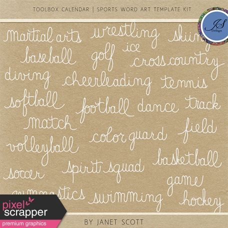 Toolbox Calendar 3 - Sports Word Art Template Kit Pixelscrapper