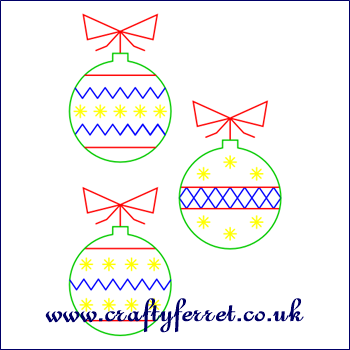 Free stitching on card Christmas baubles embroidery pattern from www ...