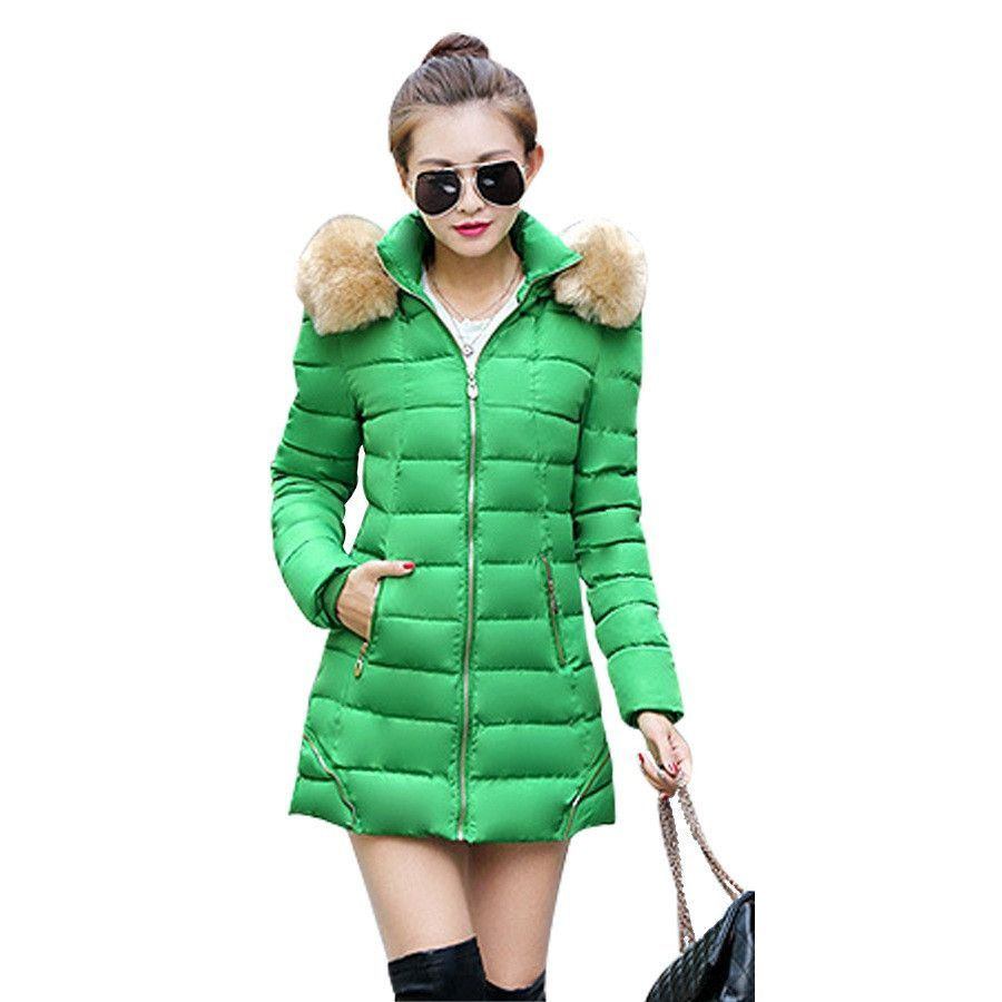 New Female Hooded Padded Overcoat 2016 Winter Fashion Solid Wadded Coat Thick Warm Women Jacket Long Down Cotton Parkas