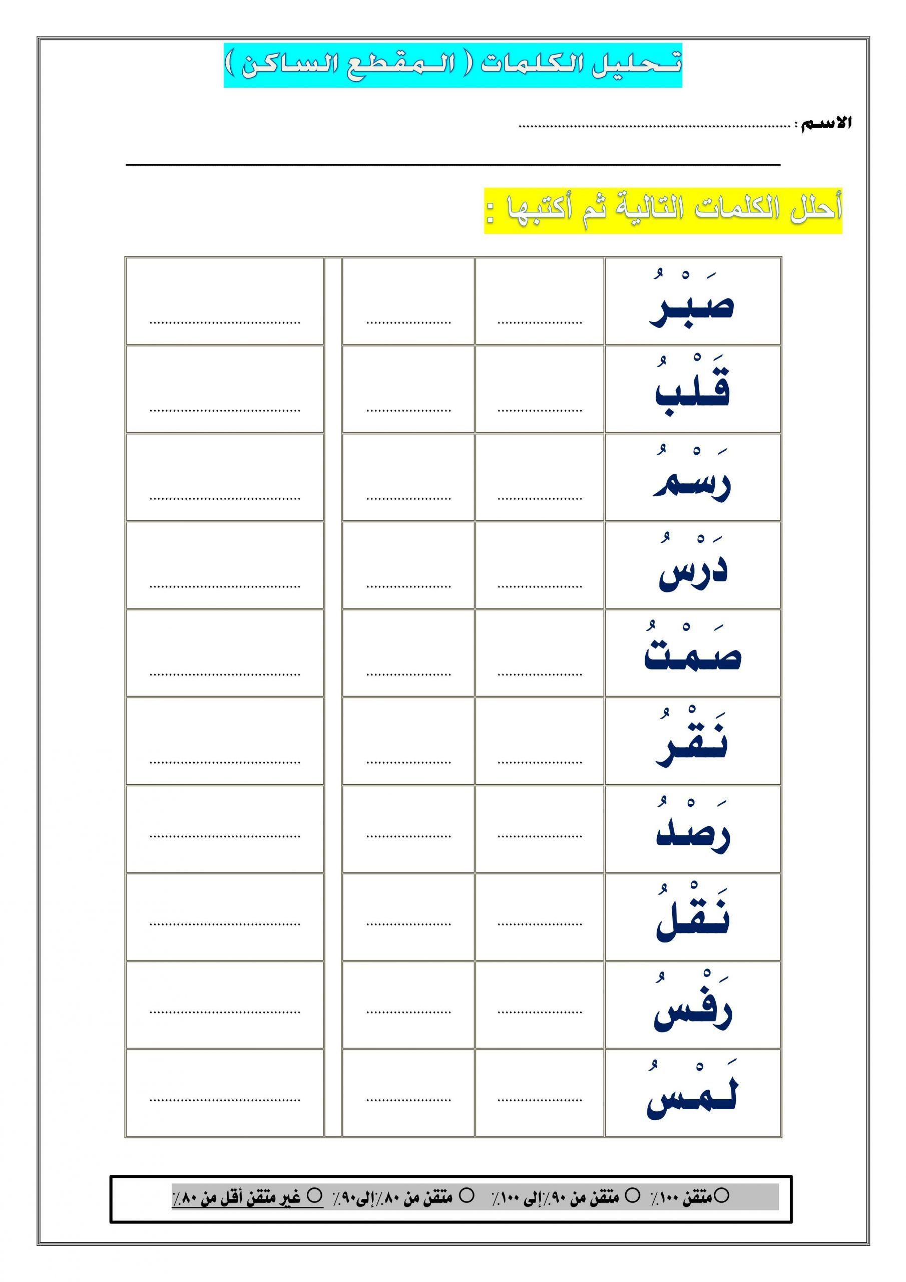 اوراق عمل تحليل الكلمات المقطع الساكن للصف الاول مادة اللغة العربية