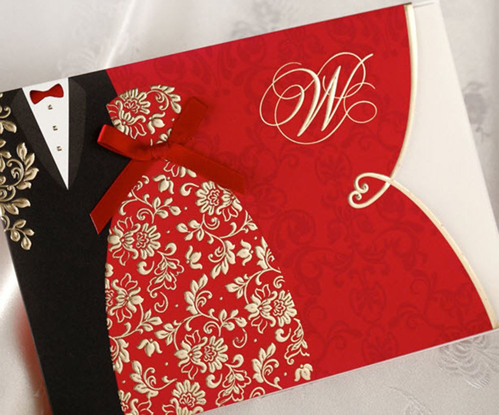 Red And Gold Wedding Invitations 60 pcs red floral wedding | Wedding ...