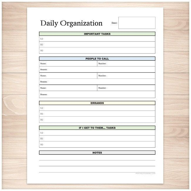 Daily Organization Category Task Sheet  Printable  Daily