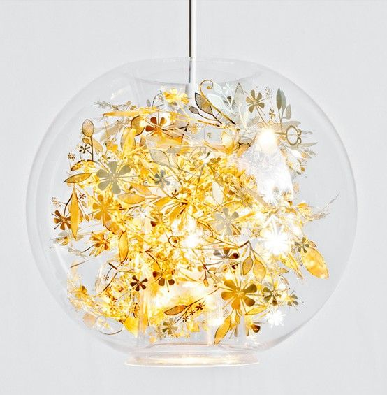 Gold Garland Lamp | Glass globe pendant light, Globe ceiling