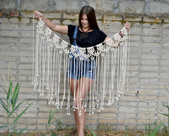 large macrame wall hanging macrame wall art macrame curtain bohemian banner macrame boho decor. Black Bedroom Furniture Sets. Home Design Ideas