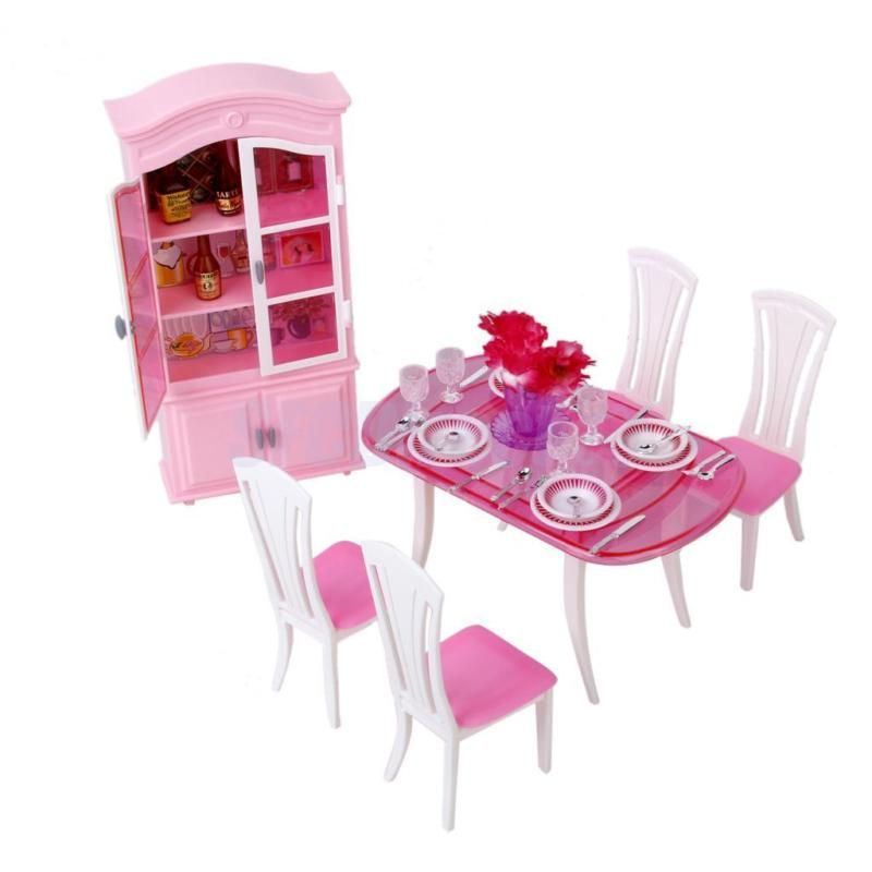 barbie dining room diorama furniture dining room table chair rh pinterest com barbie light up dining room barbie light up dining room