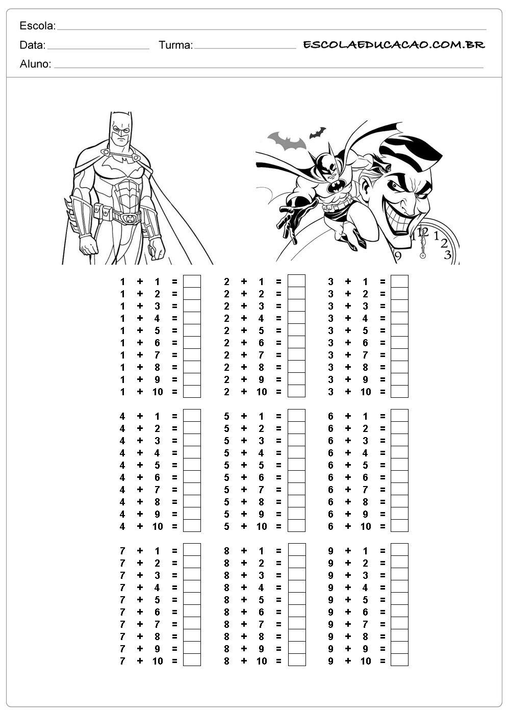 Atividade De Tabuada Para Imprimir Tabuada De Adicao Do Batman