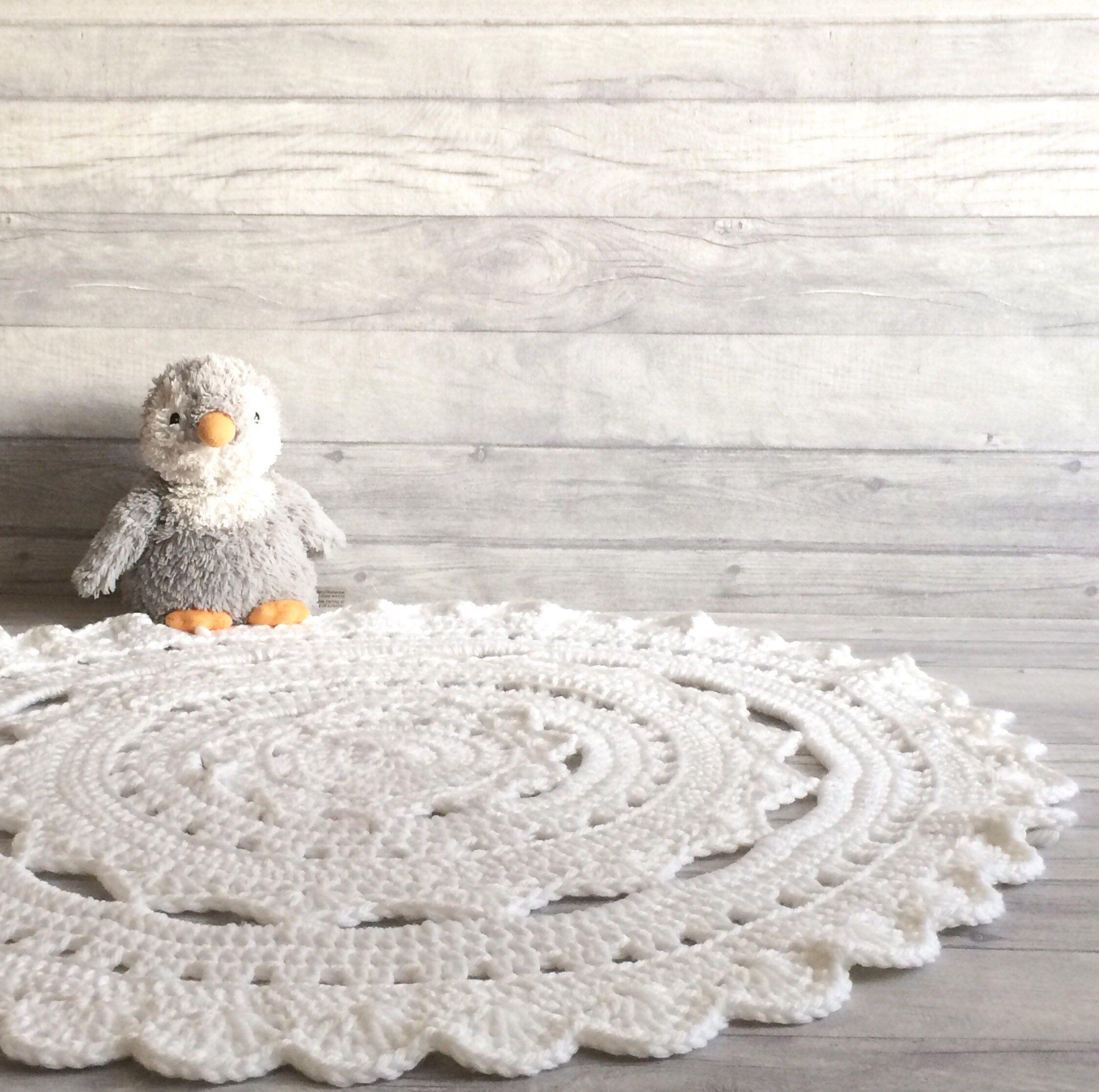 White Crochet Rug Kids Room Rug White Nursery Rug Etsy Crochet Rug Kids Room Rug Baby Room Rugs