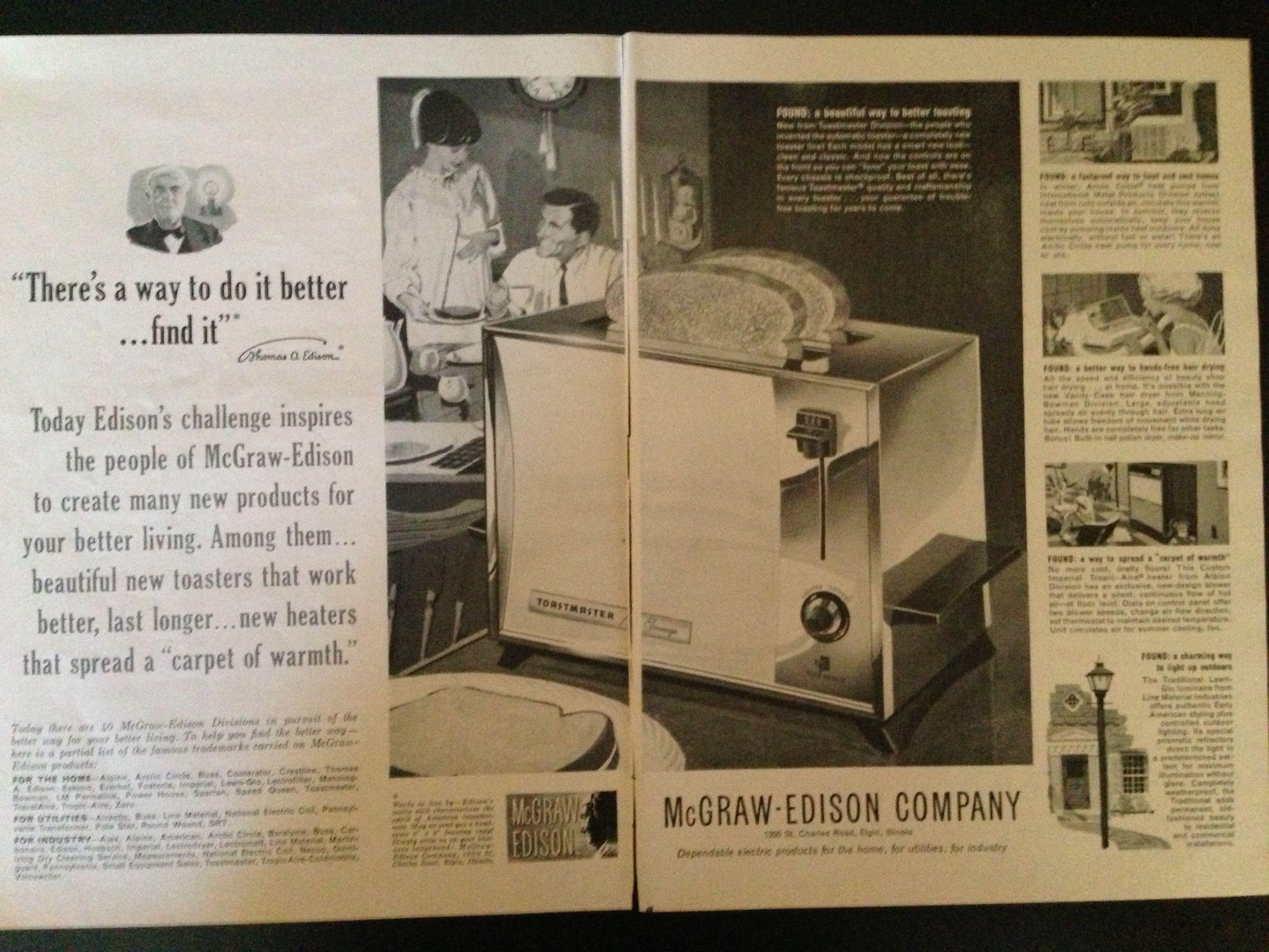 1962 McgrawEdison advertisement New Toastmaster toaster