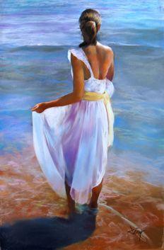 Domingo Alvarez 1 942 Mujer Mirando Al Mar Mujer Pintura Tutoriales De Pintura Al óleo Mujer De Espaldas