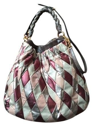 Harlequin Silver Burgundy Shoulder   Rare Pink Purple Grey Leather ... f0798ba60524e