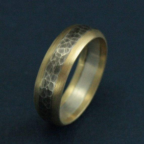 The Phoenix Band Yellow Gold Edged Hammered Sterling Silver Mens Ring