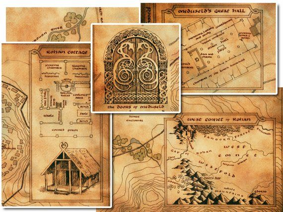 Map of Edoras Rohan Lord of the Rings Archival Paper ...