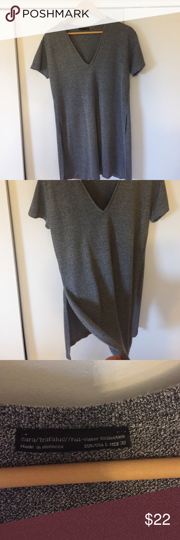 "Zara long shirt cut out Size large, only worn a handful of times. Great with leggings or shorts! V neck, I'm 5'2"" and this shirt comes to my knees. Viscose and polyester material, cable knit gray Zara Tops Tees - Short Sleeve"